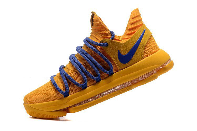 96050726e2e4 Nike KD 10 Warrior Yellow Blue Basketball Shoes Free Shipping