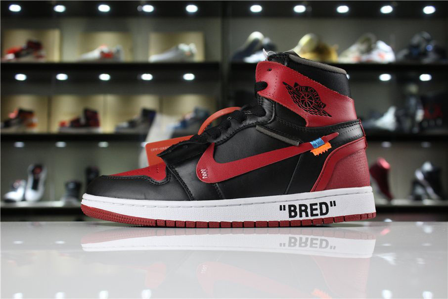 OFF-WHITE x Air Jordan 1 High OG 10X Bred Black/Varsity Red-White AA3834-023