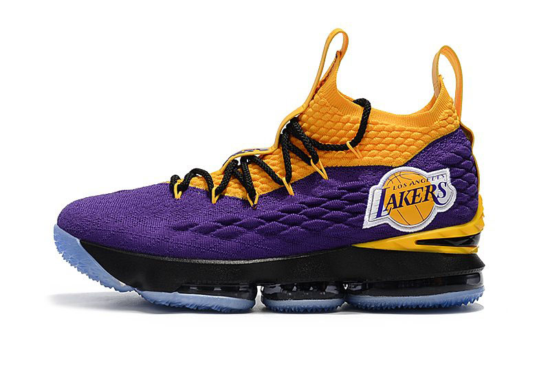 Nike LeBron 15 Lakers Purple Yellow Black Basketball Shoes For Sale